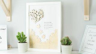 DIY Puzzle Herz Wanddeko basteln | DIY Geschenk Valentinstag