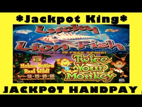 Lucky Lion Fish BONUS + RE-TRIG ** JACKPOT HANDPAY **