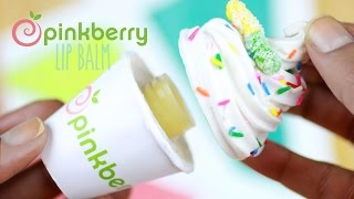 DIY Pinkberry Lip Gloss Jar - How To Make Beeswax Lip Balm Tutorial - Frozen Yogurt Polymer Clay Thumbnail