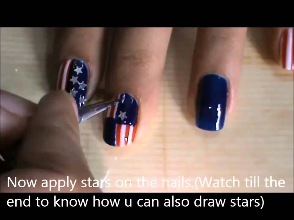Memorial Day Nail Art 4th Of July Nail Designs Youtube