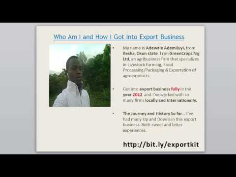 Foodstuffs Export Business in Nigeria - Down Full Video Training