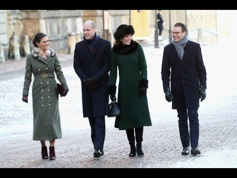 Colorful Duchess Kate and Crown Princess Victoria greet well-wishers in Stockholm