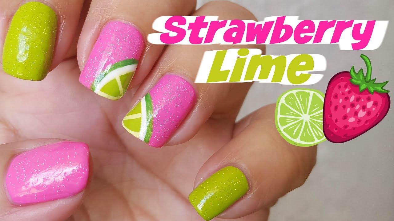 Nail Art - Strawberry Lime Margarita Nails - Decoración de Uñas ...