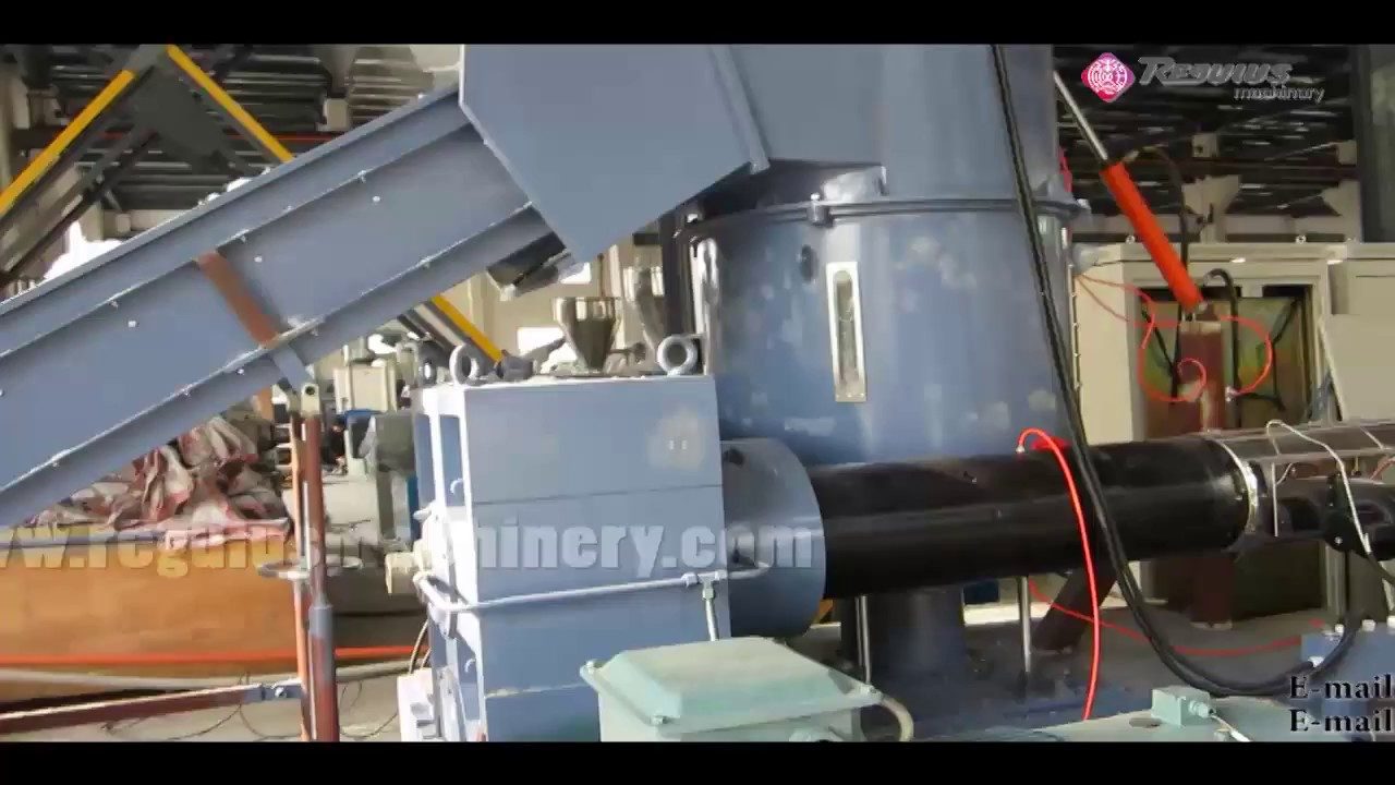 plastic Cutter compactor granulating recycling line - YouTube
