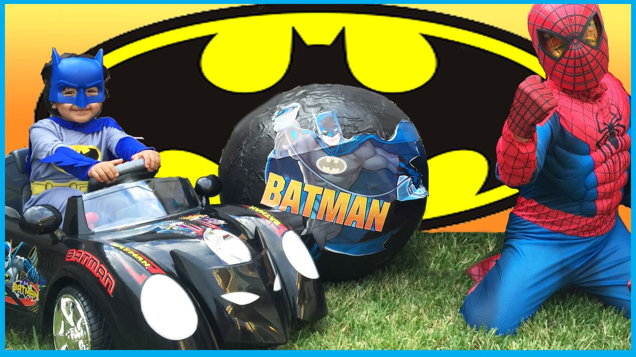 giant surprise egg opening batman vs spiderman super heroes toys imaginext power wheels kids video youtube
