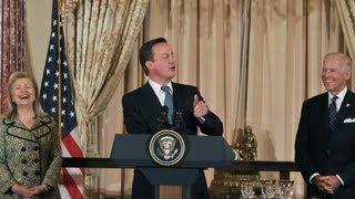 British PM David Cameron cracks joke about President Obama's gift