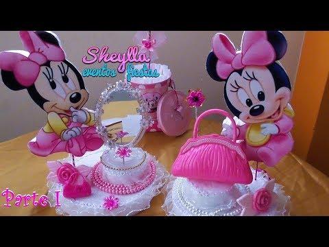 Como hacer  centro de mesa temática de Minnie bebe, Decoración fiesta infantil, cumpleaños