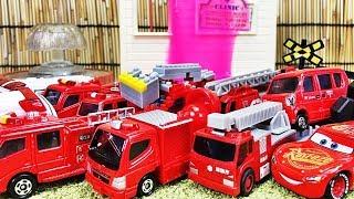 踏切 線路 アニメーション 消防車が火事を消すよ!はたらくくるま 消防車のミニカーがいっぱい!サイレンを鳴らしながら出動して火を消す子供向け、幼児向け動画 Gizmone