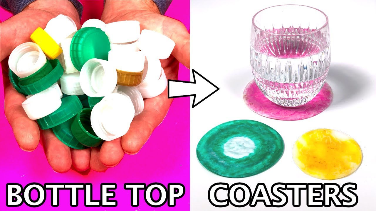 Easy DIY COASTERS from Bottle Tops *How To Make Custom Drink Coasters from Recycled Bottle Tops