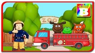 Pompierul Sam duce cu masina de pompieri animale salbatice la zoo. Desene animate in limbo romana.