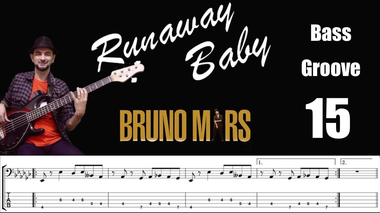 Runaway Baby Bruno Mars Bass Cover With Score Lesson Youtube