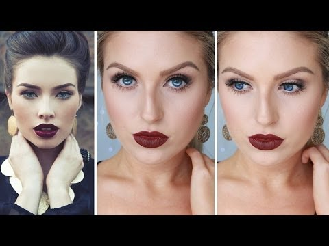 Glam Fall Autumn Makeup ♡ Bold Dark Red Lips Shaaanxo