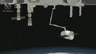 Animation of Canadarm2 catching and berthing SpaceX's Dragon