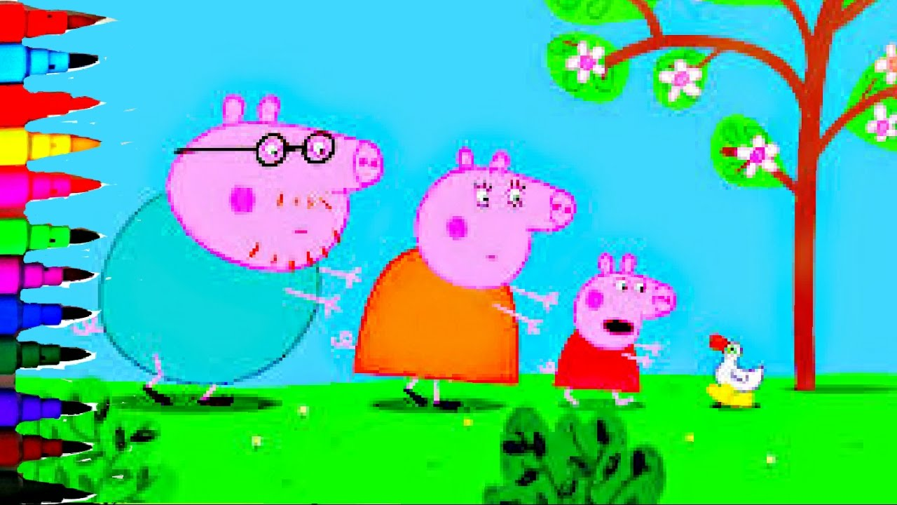 Peppa Pig Ducks Coloring Book Pages Kids Fun Art Activities Rainbow Color Compilation Videos