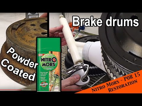 Brake drum - POR 15 paint stripping - rust conversion and powder coat - JEEP Wrangler YJ : Ep 25