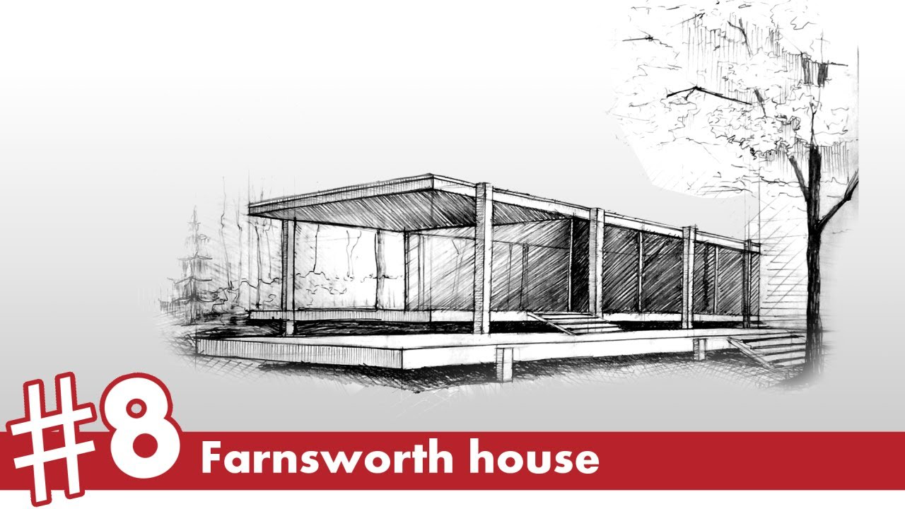Farnsworth house perspective drawing 8 famous for Architecture modern house design 2 point perspective view