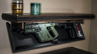 The Tactical Walls shelf (and other of their products) bridge the gap between keeping a gun locked up in a safe, and leaving it out on