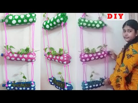 plastic-bottle-craft-ideas,-reuse-plastic-bottles-ideas,-hanging-planter-diy,-simple-bottle-art,