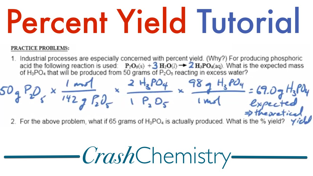 percent yield tutorial explained practice problems crash chemistry academy youtube. Black Bedroom Furniture Sets. Home Design Ideas