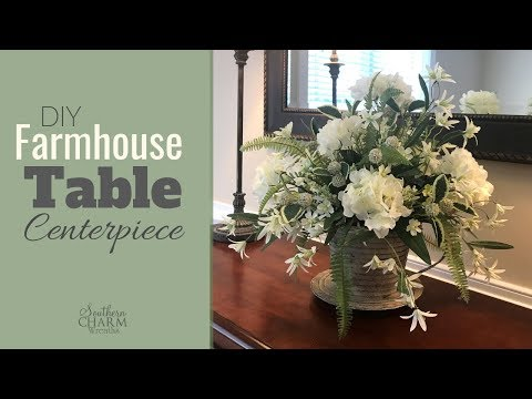 diy-farmhouse-table-centerpiece-with-hydrangeas-|-wedding-centerpiece