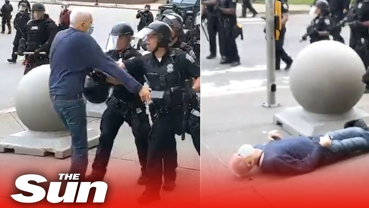 NY riot cops suspended after shoving man, 75, to the ground and leaving him bleeding and unconscious
