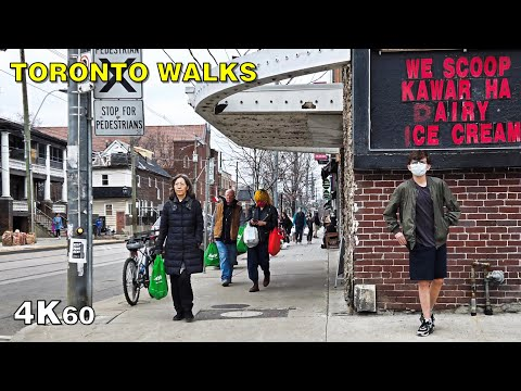 Toronto Pandemic Walk along Roncesvalles Avenue - April 4, 2020 [4K]