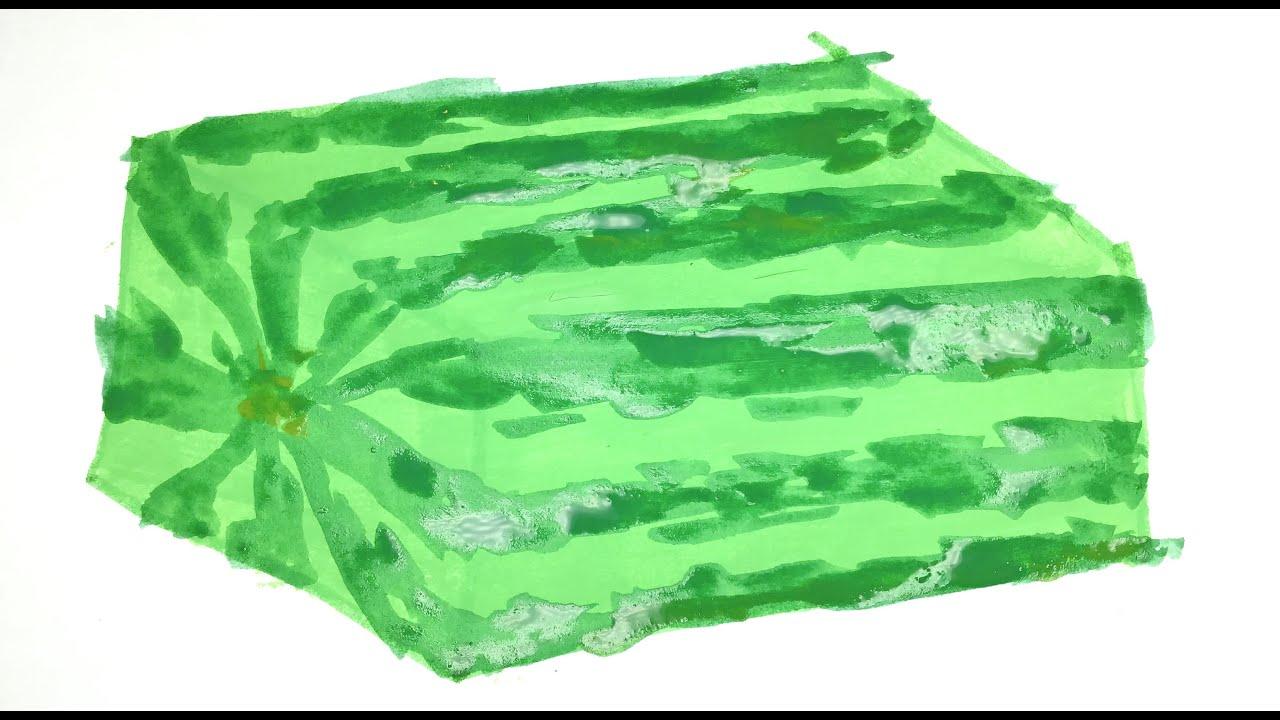 Melancia Quadrada Paginas para Colorir Pintando com Tintas Arte com Glitter Truque da Melancia