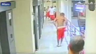 Inmates attack a fellow prisoner after cell doors open
