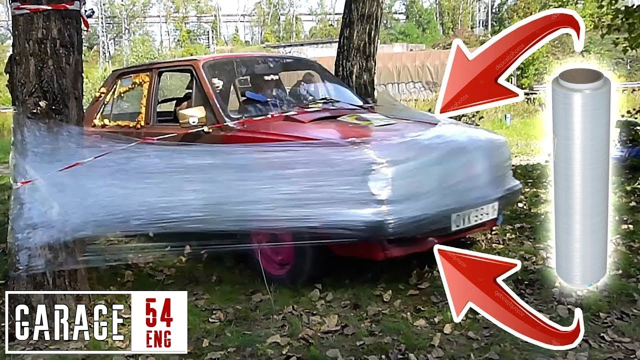 Saran Wrap Car: One Kilometer Of PLASTIC WRAP Vs CAR
