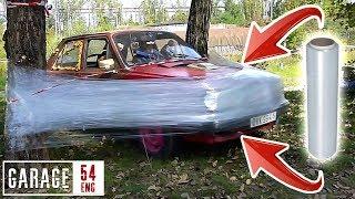 One kilometer of PLASTIC WRAP vs CAR