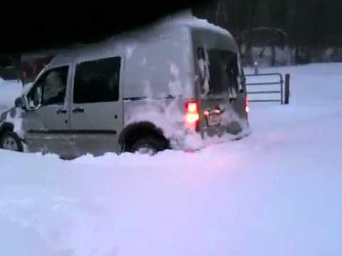 Ford Transit Connect Van >> Our ford Transit connect van stuck in the snow. - YouTube