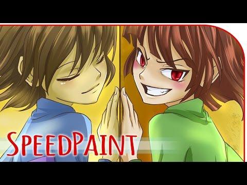 Frisk and chara (Undertale)- SPEEDPAINT Paint Tool Sai