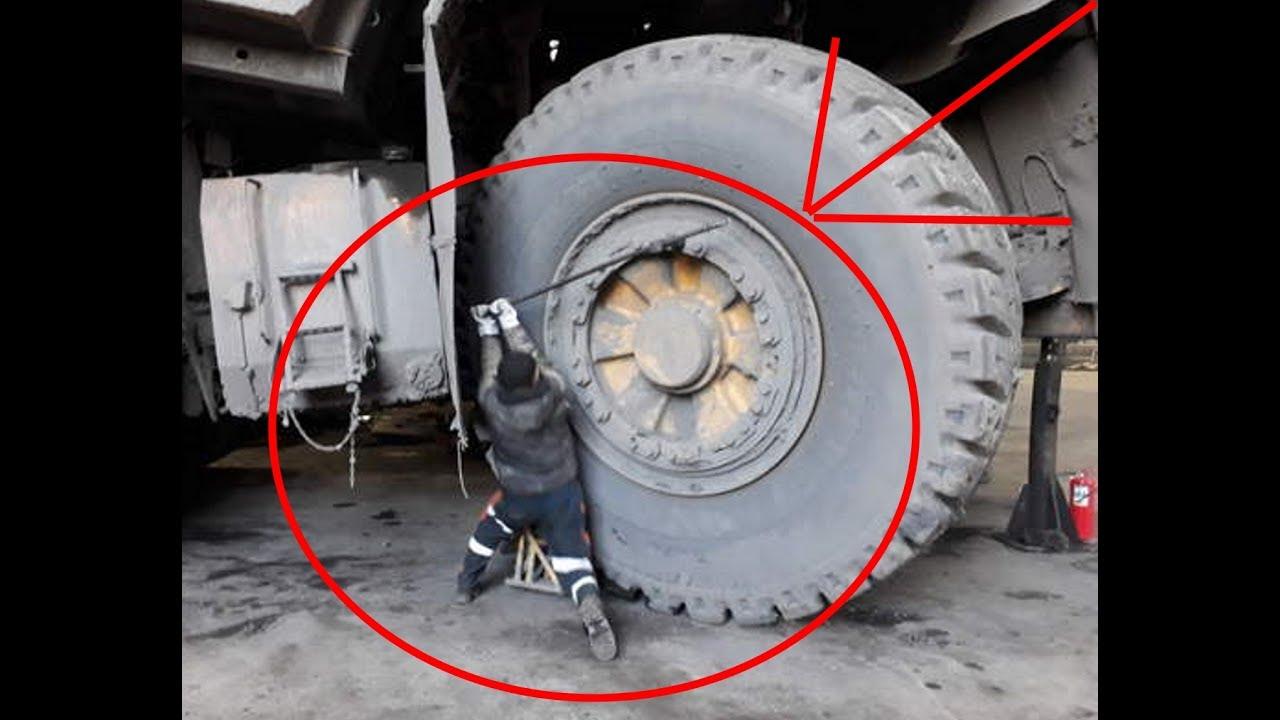 Что будет если проткнуть колесо на БЕЛАЗЕ Стоимостью 2.5 млн