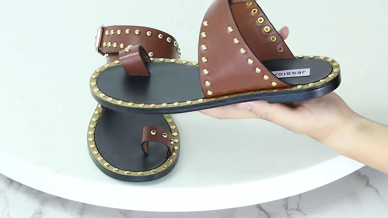 5429ad603 MASON Studded Embellished Leather Flat Sandals - JESSICABUURMAN ...
