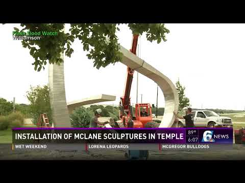 Installation of McLane sculptures in Temple
