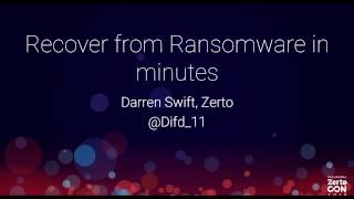 Recovering from Ransomware in Minutes with Zerto Virtual Replication