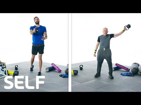 60 People Try A Kettlebell Swing | SELF