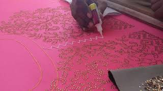 Embroidery designer blouse #008 - Stone work with fabric glue