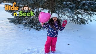 Sally Play Hide and seek in the snow with mommy!!