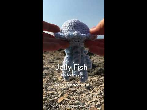 Jelly Fish Cat Toy In Crochet