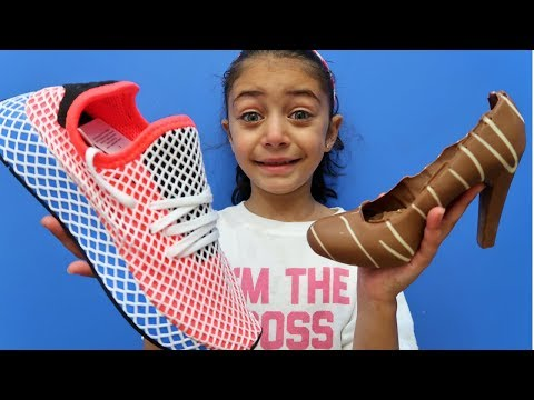 Kids Pretend Play with Chocolate Shoe vs Adidas DEERUPT Real Shoe! family fun video