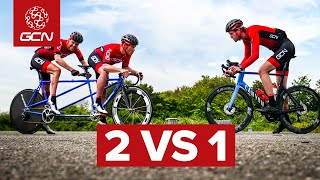 Tandem VS 1   Are 2 Riders On A Tandem Faster Than 1 Roadie?