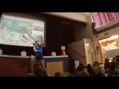AJG talks about prehistoric seas to Ocean Shores Elementary School