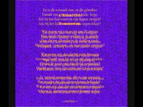 Adriaan Roland Holst 1888 1976 Gedicht In Memoriam