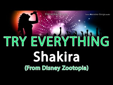 Shakira 'Try Everything (From Disney Zootopia)' Instrumental Karaoke Version with vocals and lyrics