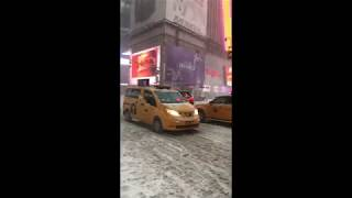 Times Square During A Blizzard Bomb Cyclone Snowstorm In New York City