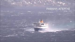 Blue Star Paros: Fighting with huge waves in the Strait of Tsiknias!