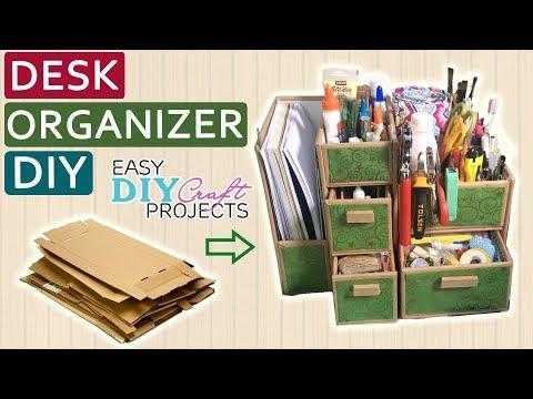 DIY Cardboard Desk Organizer   How to make Desk Organizer from Cardboard   Easy DIY Craft Projects