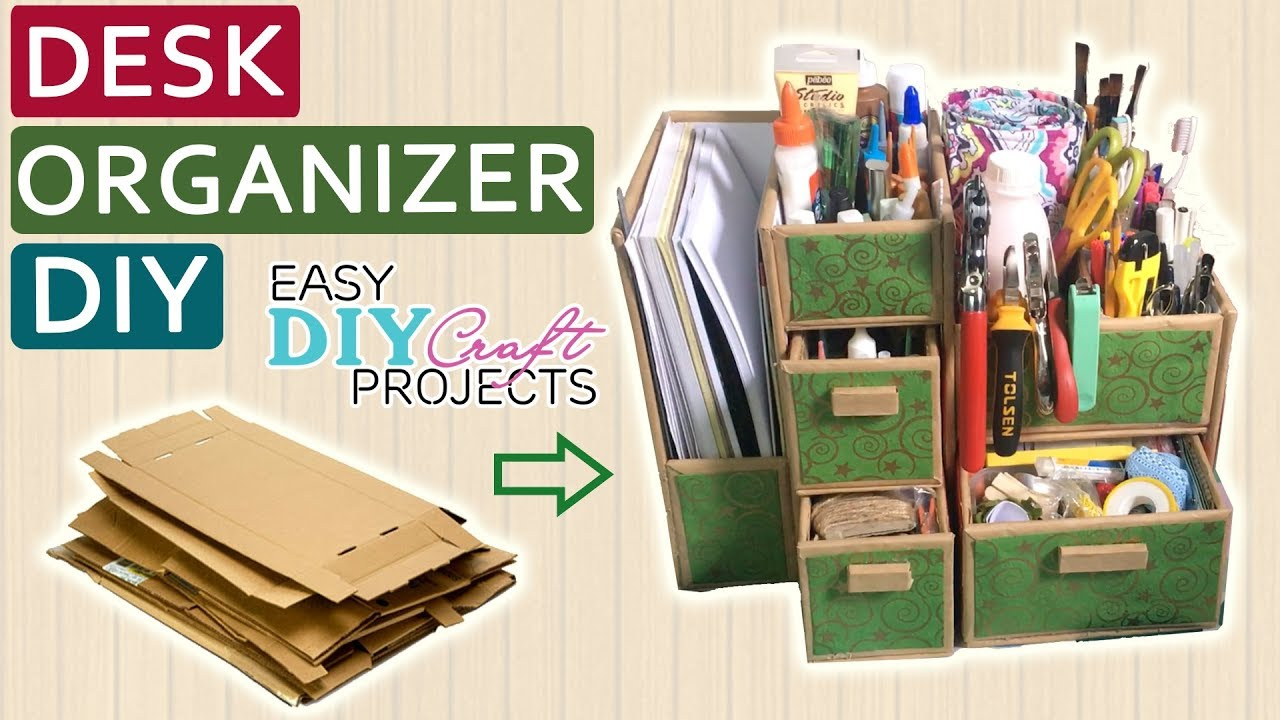Diy Cardboard Desk Organizer How To Make From Easy Craft Projects