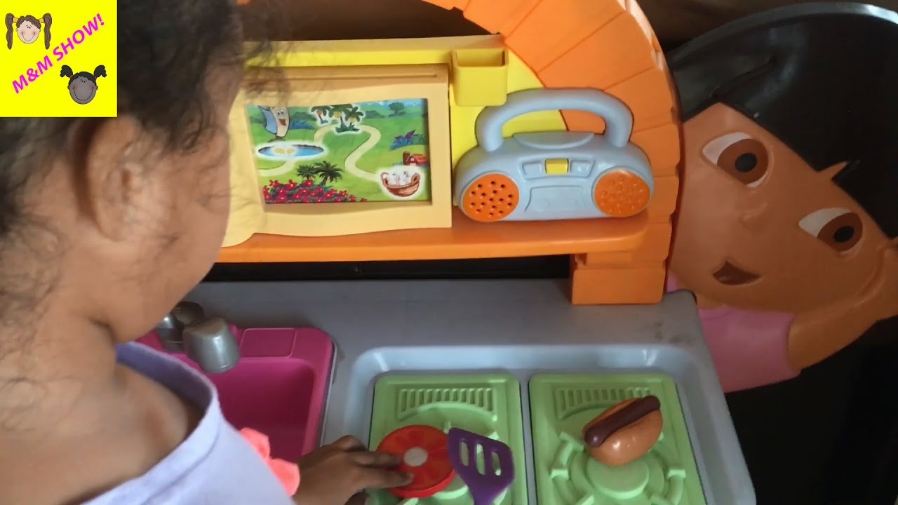 Cooking Lunch Dora Explorer Kitchen Set Kids Baking Oven